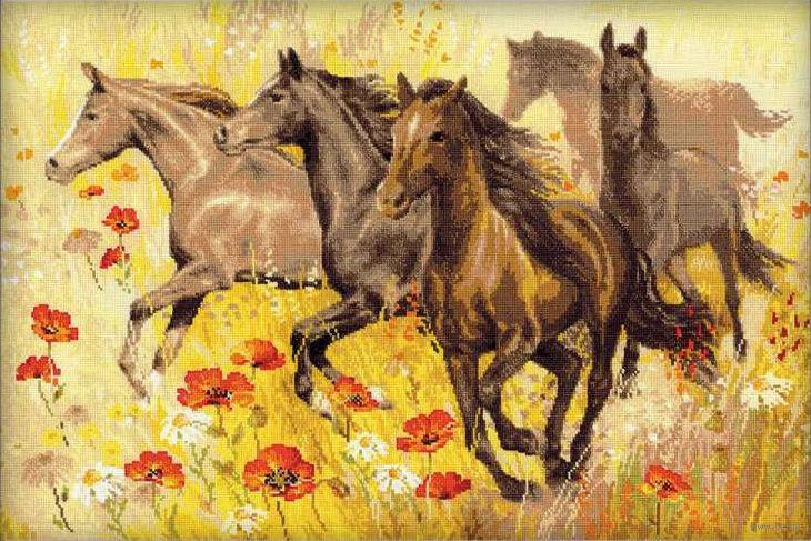 Вышивка крестом лошади: схемы и наборы, бесплатные, пони бегущие ...   487x730