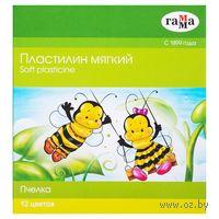 """Пластилин восковой """"Пчелка"""" (12 цветов)"""