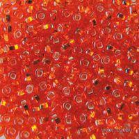 Бисер прозрачный с серебристым центром №97030 (ярко-оранжевый)