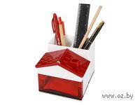 Подставка под ручки и канцелярские принадлежности в виде домика (красная)