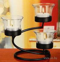 Набор подсвечников стеклянных, 3 шт на металлической подставке (13*10,5 см) + 3 свечи