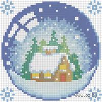 """Алмазная вышивка-мозаика """"Новогодний шарик с домиком"""""""