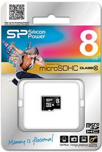 Карта памяти micro SDHC 8Gb Silicon Power Class 10 (без адаптера)
