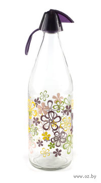 Бутылка стеклянная для воды с пластмассовой крышкой (1 л, арт. 111605)