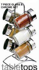 Набор баночек для специй, стеклянных, 6 шт. (100 мл) на металлической подставке (10*14 см)