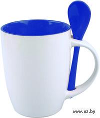 Кружка с ложкой (320 мл, цвет: белый, синий)