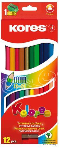 """Цветные карандаши двухсторонние """"KORES KOLORES DUO"""" с точилкой (12 штук)"""