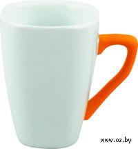 Кружка с силиконовым покрытием на ручке (250 мл, цвет: белый, оранжевый)
