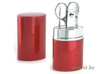Набор для маникюра в алюминиевом тубусе, 4 предмета (красный)