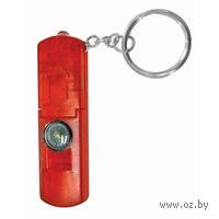 Брелок-фонарик со свистком и компасом (красный)