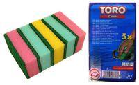 """Набор губок для мытья посуды поролоновых """"TORO"""" (5 шт, 9*6 см, арт. 600002)"""