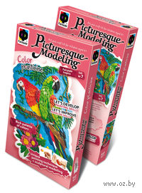 "Картина из пластилина ""Сказочные тропики. Попугаи"""