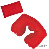 Подушка надувная дорожная в футляре (красная)