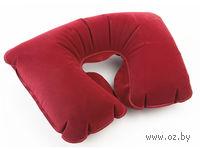 Подушка надувная под голову, в чехле (бордовая)