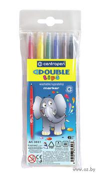 """Фломастеры """"Double"""" c 2-мя наконечниками (6 цветов; 0,5мм - 1,5мм)"""