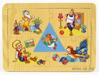 "Пазл-рамка деревянный ""Малыш и Карлсон"" (4 элемента)"