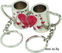 """Набор """"За любовь"""" (два брелока на магните, в виде кружек с половинками сердца)"""
