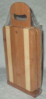 Набор досок разделочных бамбуковых на подставке (4 шт, 22*14,5*0,8 см)