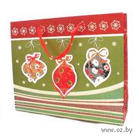 """Пакет бумажный подарочный """"Новогодние игрушки"""" (34*28*9 см, арт. XD-C2105-7)"""