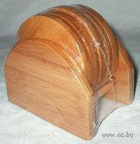 Набор бамбуковых подставок для стаканов (5 шт, 9 см)