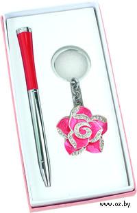 """Набор. Шариковая ручка, брелок с шильдом """"Роза"""""""