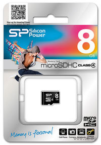 Карта памяти micro SDHC 8GB Silicon Power Class 4 (без адаптера)