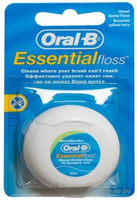 Зубная нить вощеная ORAL-B Essentialfloss (мятный вкус)