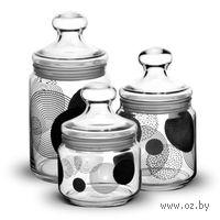 """Набор банок для сыпучих продуктов стеклянных """"Constellation Black"""" (3 шт. по 500/750/1000 мл)"""