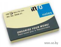 """Бумага для записей на клейкой основе """"Info notes"""" (желтая; 50 x 75 мм; 100 листов)"""