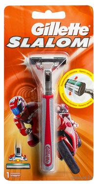 Станок для бритья Gillette SLALOM + 1 кассета (красный)