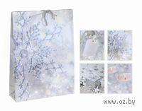 """Пакет бумажный подарочный """"Снежинки серебро"""" (25*8*34,5 см)"""