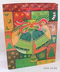"""Пакет бумажный подарочный """"Новогодние колокольчики"""" (28*34*9 см)"""