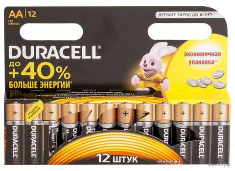 Батарейка DURACELL AA LR6 MN1500 Alkaline (12 штук)