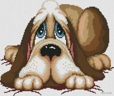 """Алмазная вышивка-мозаика """"Грустный пёс"""" (400х350 мм) — фото, картинка"""