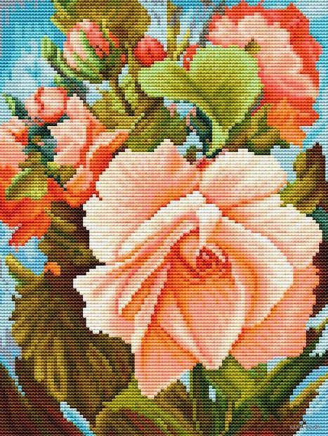 "Вышивка крестом ""Роза"" (185x245 мм) — фото, картинка"