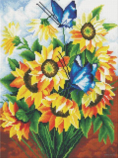 "Алмазная вышивка-мозаика ""Летний букет"" (300х400 мм) — фото, картинка"