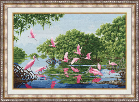 """Вышивка крестом """"Розовые пеликаны"""""""