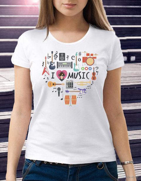 "Футболка женская ""Love music"" (размер 48; арт. 2) — фото, картинка"
