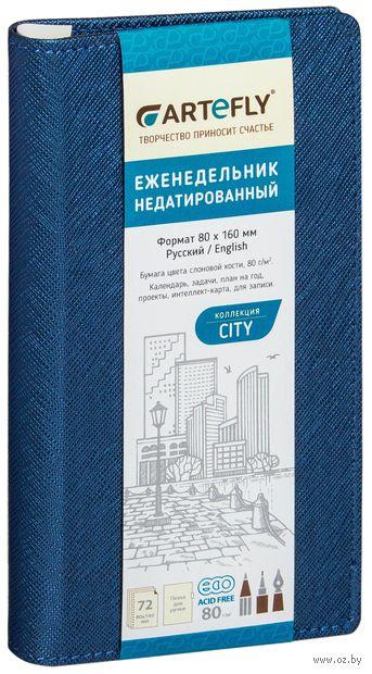 """Еженедельник недатированный """"City"""" (80x160 мм; синий) — фото, картинка"""