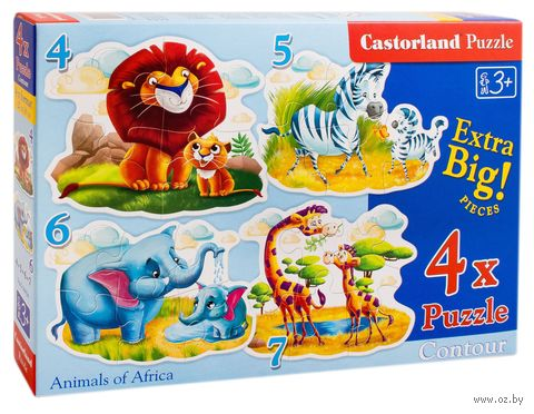 """Пазл maxi """"Животные Африки"""" (4+5+6+7 элементов) — фото, картинка"""