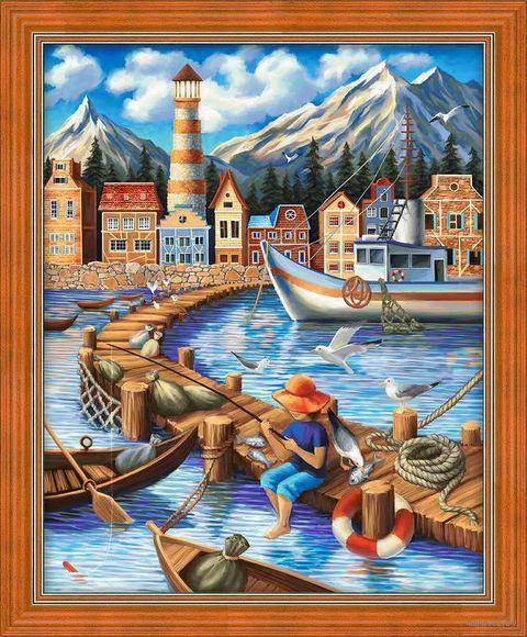 """Алмазная вышивка-мозаика """"Портовый городок"""" (400х500 мм) — фото, картинка"""