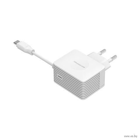 Сетевое зарядное устройство Atomic U213T с кабелем type C, 3A (белое) — фото, картинка