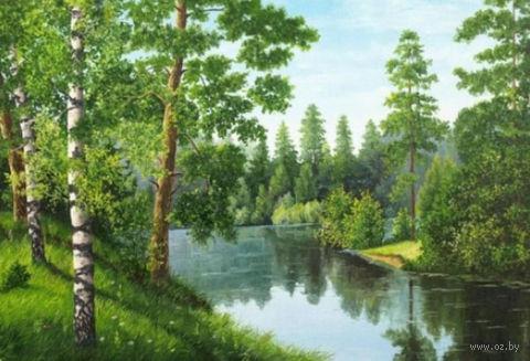 "Алмазная вышивка-мозаика ""Река в лесу"" (560х380 мм) — фото, картинка"