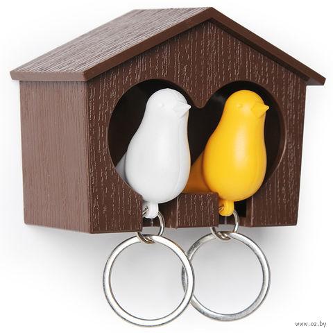"""Брелок-свисток и держатель двойной для ключей """"Sparrow"""" (коричневый/белый/желтый)"""