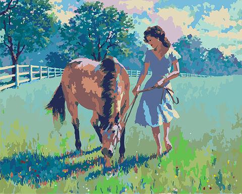 "Картина по номерам ""Артур Сарнофф. Девушка и лошадь"" (400х500 мм) — фото, картинка"