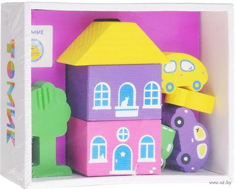 """Конструктор деревянный """"Цветной городок. Фиолетовый"""" (8 деталей) — фото, картинка"""