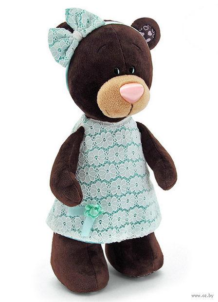 """Мягкая игрушка """"Медведь Milk в платье цвета мяты"""" (30 см) — фото, картинка"""