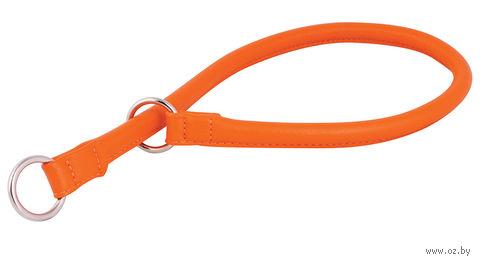 """Ошейник-удавка из натуральной кожи рывковый """"Glamour"""" (40х0,8 см; оранжевый) — фото, картинка"""