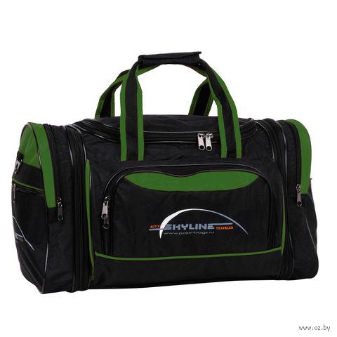 Сумка спортивная 6067-2 (38 л; чёрно-зелёная) — фото, картинка