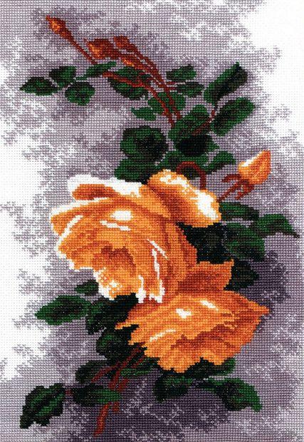 """Вышивка крестом """"Розы желтые"""" (270x190 мм) — фото, картинка"""